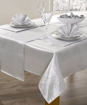 "CHRISTMAS SILVER SHIMMER GLITTER METALLIC TABLECLOTH 52""X90""£10.99 EACH FREE P&P"